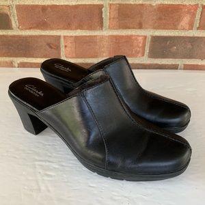 Clarks black leather slide heeled mules